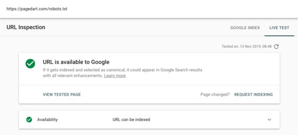 Google search console live test passed