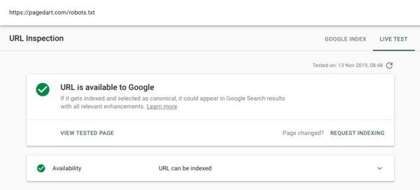 Google Search Console Test Live URL