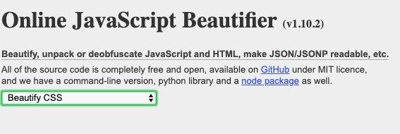 Online Unminify CSS